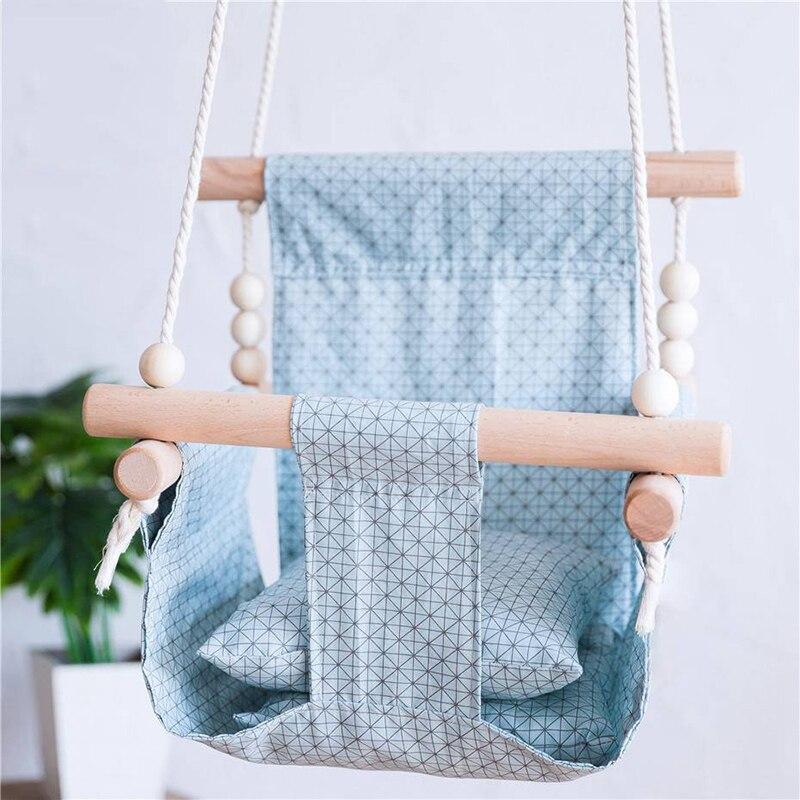 1Pcs Baby Swing Chair Home Interior Furniture Suspension Children'S Kindergarten Indoor Decor Hammock Canvas Wooden Swing Chair