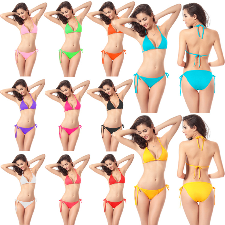 Swimwear Bikini Bathing Suit Currently Available-11 Color Candy-Colored Classic Bikini Europe And America Tour Bathing Suit