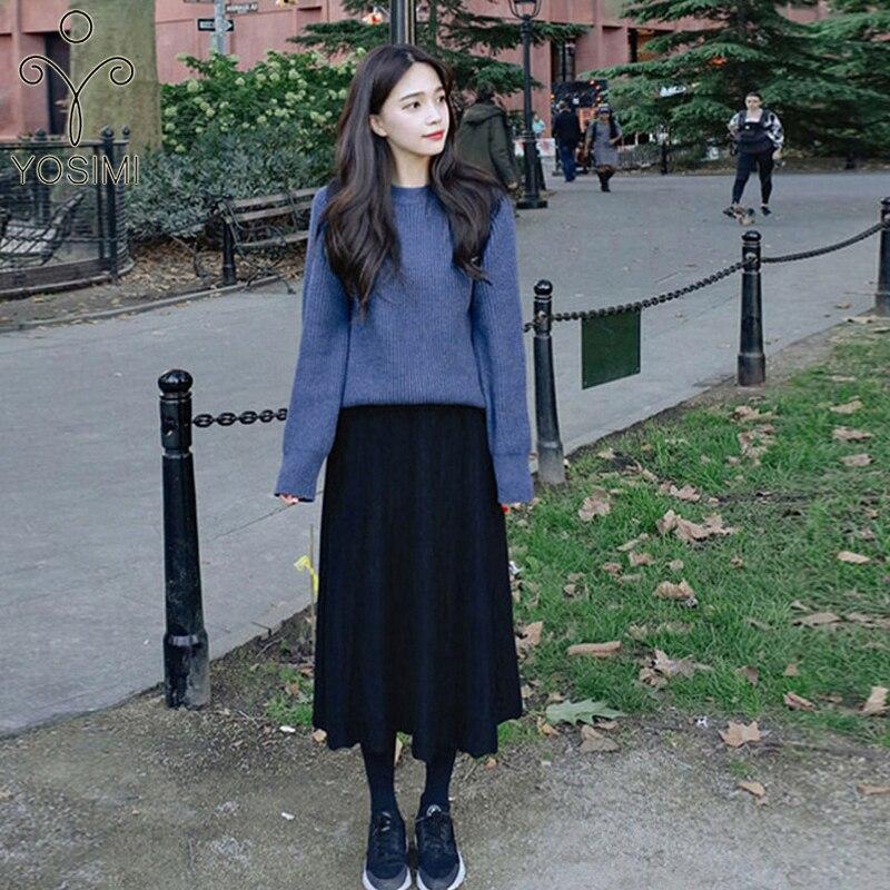YOSIMI 2 pièces tenues pour femmes jupe ensemble 2019 automne hiver bleu lâche manches complètes chandail et tricot jupe élastique mi-mollet