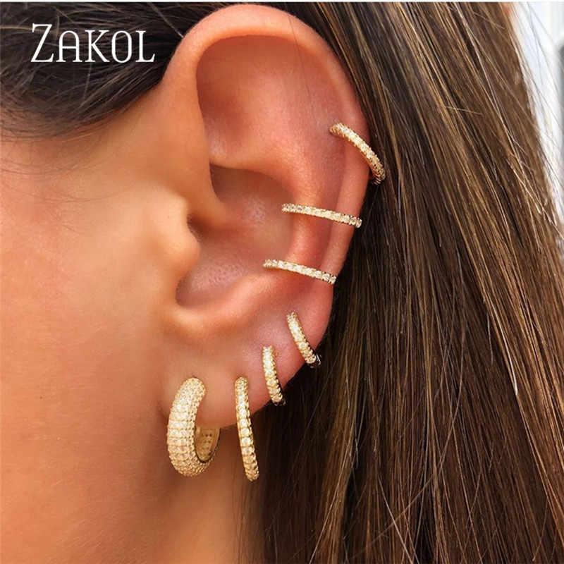 Zakol novo simples zircônia cúbica micro pave não perfurado pequeno clipe brincos para mulheres menina moda orelha manguito jóias fsep2279