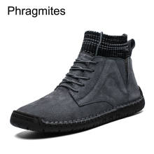 Phragmites Fashion Trend Men Boots Simple Design Botas Mujer Leather High Top Casual Shoes Outdoor Black Warm Winter