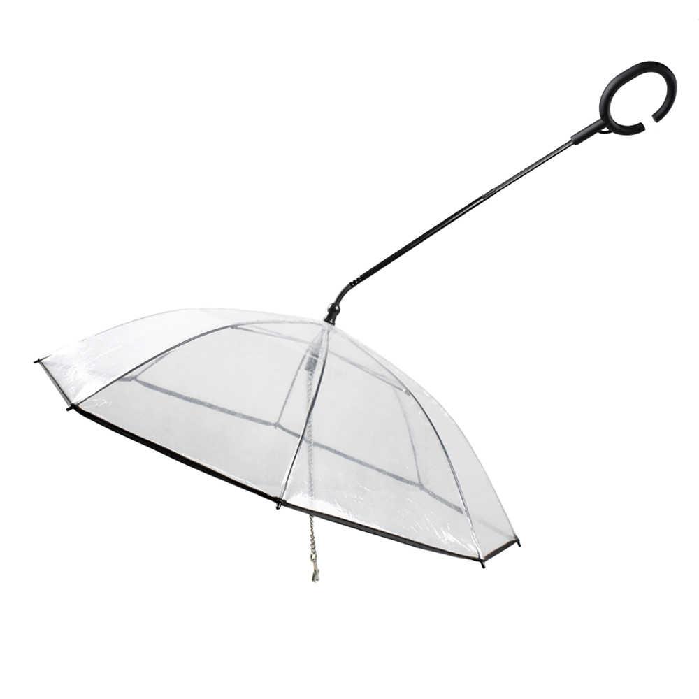 C على شكل قابل للسحب مظلة في الهواء الطلق المشي القط جرو الجر حبل كلب مظلة مقود الحيوانات الأليفة الكلب شفافة ل يوم ممطر