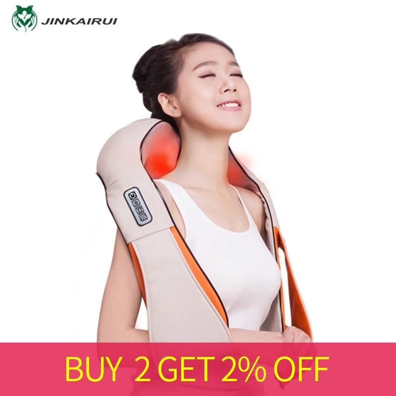 Jinkairui forma U coche/hogar/Oficina masajeador de cuello eléctrico Shiatsu hombro espalda masajeador de cuerpo infrarrojo 3D masajeador-in Tratamientos de relajación from Belleza y salud on AliExpress - 11.11_Double 11_Singles' Day 1