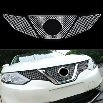 Car styling Accessories For Nissan Qashqai J11 2015 2016 2017 stainless steel Front Bumper Insect Screening Mesh Front Grille 3p