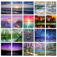 Star Sky Diamond painting scenery sea Full Square embroidery Cross stitch landscape Round mosaic natural tree #