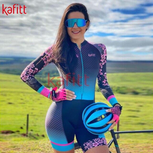 Kafeet triathlon feminino nova camisa de ciclismo de manga comprida camisa profissional camisa de desporto de corrida de uma peça terno de ciclismo macacão 1