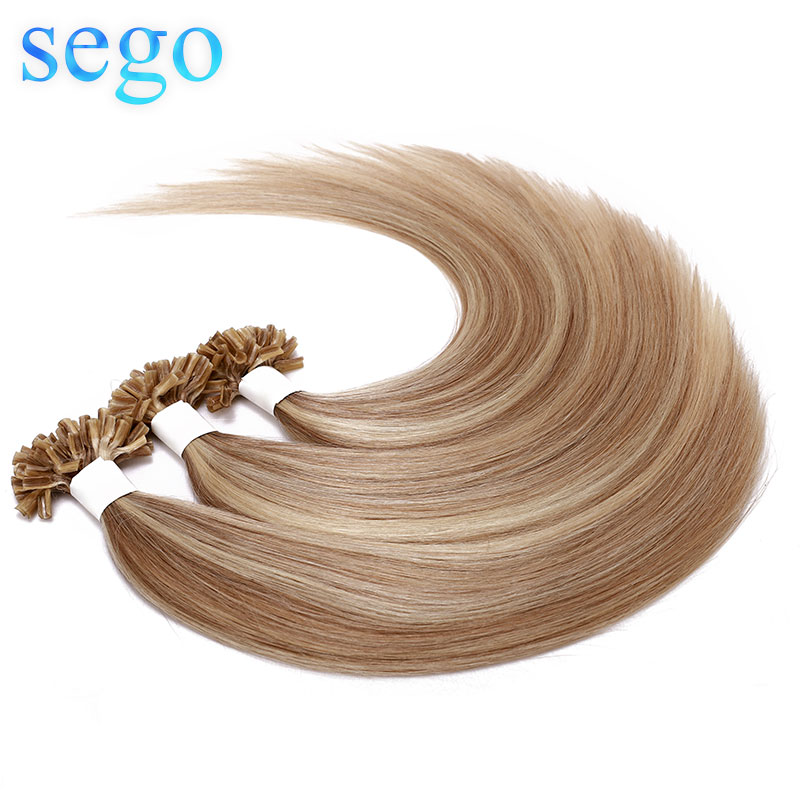 """SEGO 16""""-24"""" 50 Strands Straight Keratin Capsules Human Fusion Hair Nails U Tip Machine Made Remy Pre-Bonded Hair Extension 1g/s"""