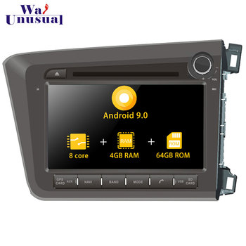 Autoradio 8'' Octa Core Android 9.0 Car Radio GPS Navigation Player For Honda Civic RHD 2012 - Stereo Auto Car DVD Playe 2 Din image