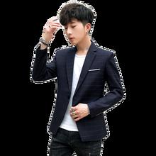 New Slim Fit Casual jacket Men Blazer Jacket Single Button Mens Suit Jacket Autumn plaid Coat Male Suite M 3XL drop shipping