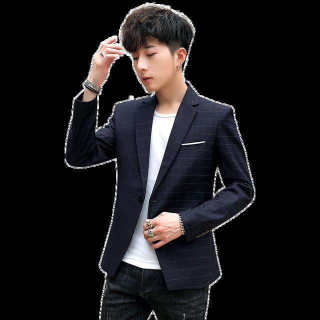 Yeni Slim Fit rahat ceket erkekler Blazer ceket tek düğme erkek takım elbise ceket sonbahar ekose ceket erkek Suite M 3XL damla kargo
