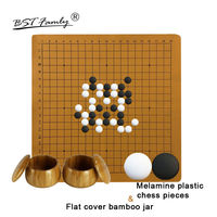 BSTFAMLY Plastic Go Chess Set 361 Pieces For 19 Road PU Board Flat Cover Bamboo Jar Chinese Game of Go Melamine Yunzi Weiqi G44