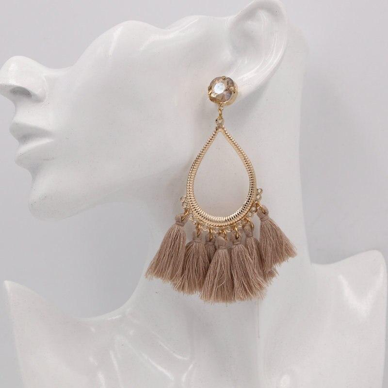 xujiafu Oorbellen For Women Big Earrings Metal Long Drop Earrings Cotton Earrings Fashion Party Jewelry 2020 New Jewelry