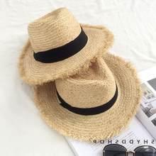 Летняя шляпа Федора с отделкой из рафии Весенняя стильная женская