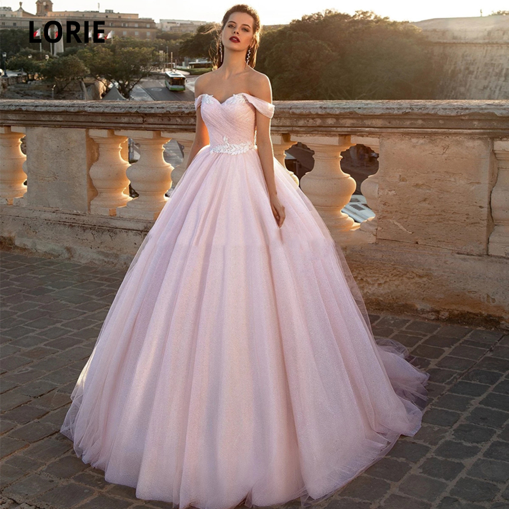 LORIE Off The Shoulder Soft Tulle Ball Gown Pink Wedding Dresses Lace Up Bridal Gowns Sleeveless Open Back Vestido De Noiva