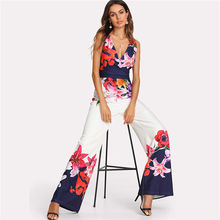 Summer Jumpsuits HOT Women Casual Short Sleeve Off the Shoulder V-Neck High Waist Print Loose
