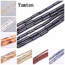 Yumten Cylinder Blue Sandstone Bead 4mm* 13mm Agate Malachite Tiger Eye Rose Quartz Chalcedony Moonstone Making Beads Jewelry