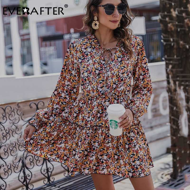 Купить женское платье с цветочным принтом everafter осеннее на шнуровке