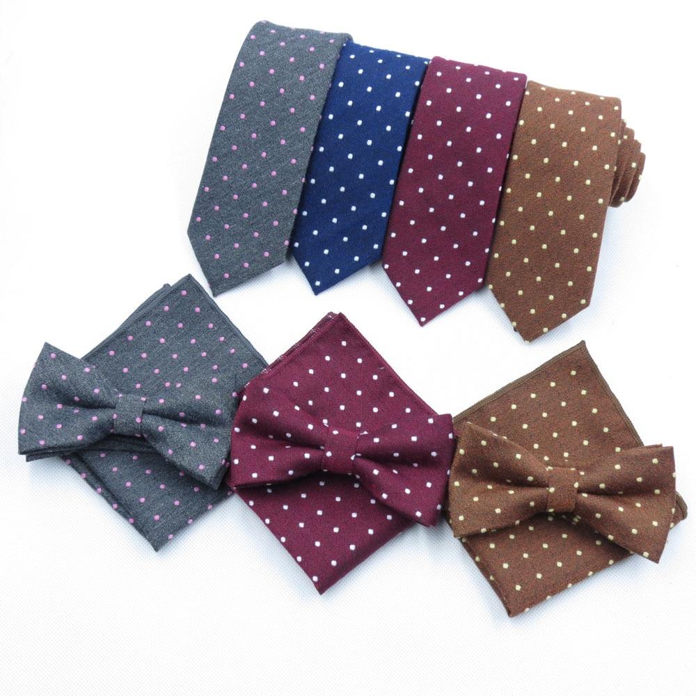 Sitonjwly Men's Suit Bow Tie Sets Business Formal Dress Polka Dots Necktie Bowtie Handkerchief Pocket Square Set Butterfly Tie