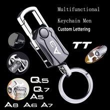 For audi A3 A4 A5 A6 A7 Q2 Q3 Q5 Q7 Q8 tt Beer Bottle Opener Keychain Multifunctional Alloy Key Ring Car Play Keyring