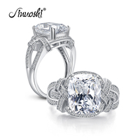 AINUOSHI Luxury 5 Carat Cushion Cut Ring Simulated Diamond Engagement Wedding Sterling Silver Hallow Ring Jewelry for Women