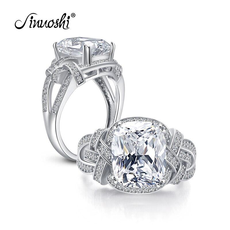 AINUOSHI luxe 5 carats coussin coupe bague simulé diamant fiançailles mariage en argent Sterling Hallow anneau bijoux pour femmes