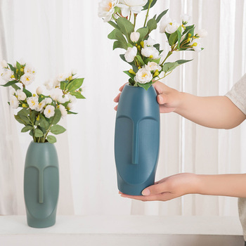 Plastic Vase Decoration Home Facial art vase Imitation Ceramic Modern Minimalist Abstract Vase Flower Pot Flower Basket image
