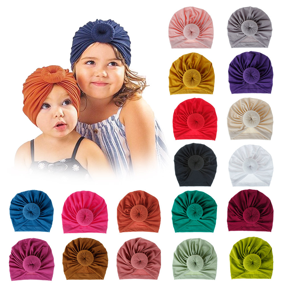 fashion-mommy-and-baby-cotton-round-ball-flower-hat-women-caps-girls-newborn-turban-knot-kids-adult-headwear-hair-accessories