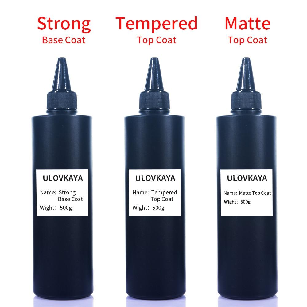ULOVKAYA 500g Factory Supply UV Gel Base Top Coat Soak Off Matte And Tempered Top Coat Cuticle Oil For Nail Art Design Salon