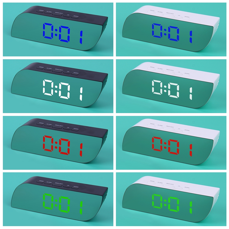 Modern Rectangular Alarm Clock with Alarm/&Snooze Functions Blue Light Night Light Mirror Surface LED time and Temperature Display.