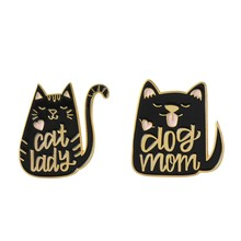 2Pcs Dog Mom Cat Lady Cartoon Animal Dog and Cat Brooch Jewelry Enamel Pins Metal Badges Brooches for Dog Cat Kitty Lover Cute A(China)