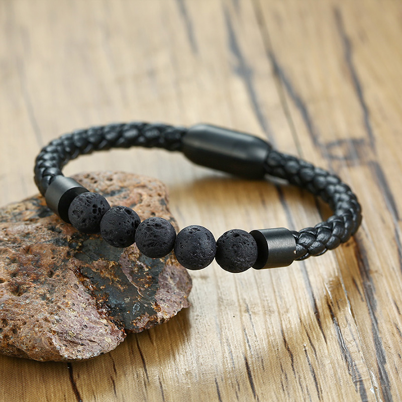 Titanium Steel Man Chakra Jewelry Wholesale Stainless Steel Men's Black Leather Volcanic Beaded Braclets Stone Leather Bracelets