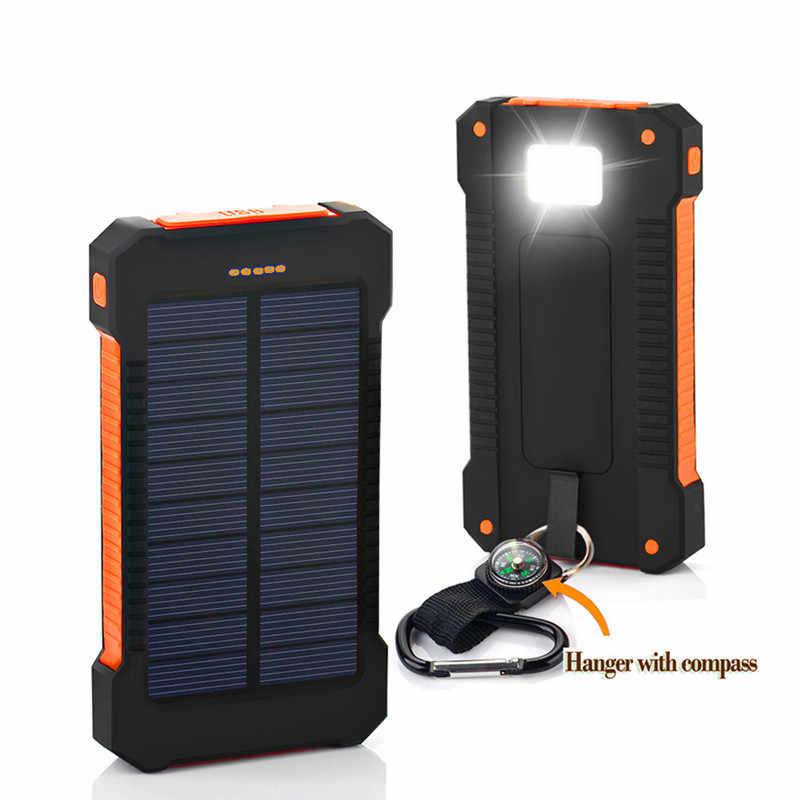 خزان طاقة يعمل بالطاقة الشمسية 30000mAh مزدوجة USB شاحن بالطاقة الشمسية بطارية خارجية محمولة شاحن Bateria الط حزمة ل هاتف ذكي