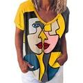 V Neck Short Sleeve Tees Women Casual Summer Cartoon Face Print Funny Shirt Top Loose Y2K Harajuku Tshirt Vintage Clothing S-5XL