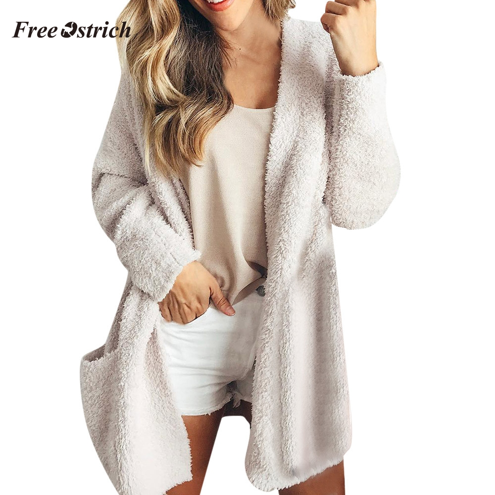 Free Ostrich Women Sweater Cardigan Casual Solid Winter Warm Wool Pockets Women Coat Outwear Sweaters Women Invierno #O
