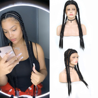 Charisma Long Jumbo Box Braids Braided Wig Heat Resistant Full Lace Wig Pre Plucked Synthetic Wigs for Afro Women Blonde Wigs