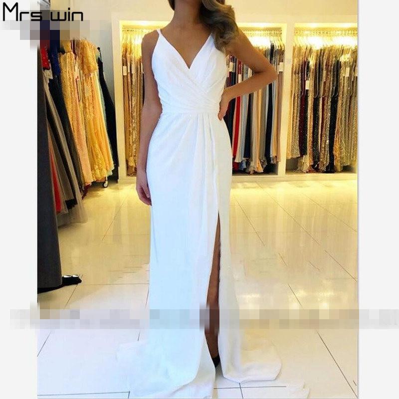 Mrs Win Evening Dresses Elegant V-neck Robe De Soiree Split Long Women Party Dresses Mermaid Formal Gowns For Girls HR101