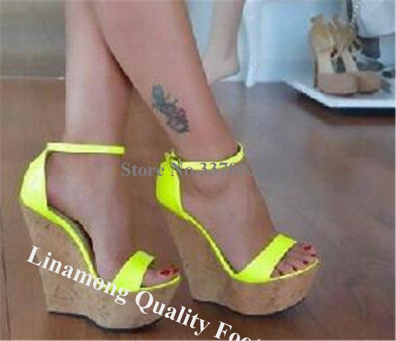 Linbetween nouveau bout ouvert en cuir verni haute plate-forme compensée gladiateur sandales Fluorescent Rose rouge jaune compensées robe chaussures compensées - 6