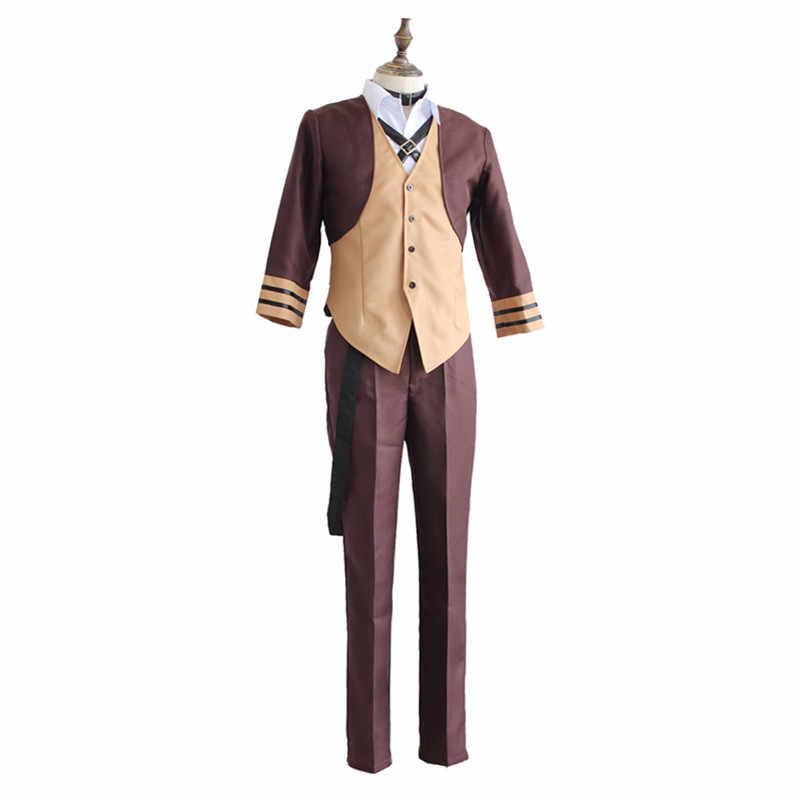 Накахара Chuuya костюм аниме для косплея бродячие собаки bungo костюмы Для мужчин среднего возраста для верховой езды в стиле ретро оснащения Для мужчин футболка костюм пальто с париком