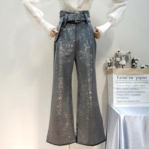 Image 1 - LANMREM 2018 أزياء جديدة من حجر الراين عالية الخصر الدانتيل مرونة القطن فضفاضة واسعة الساق السراويل السوداء سراويل الإناث YG09101