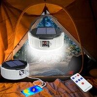 Linterna Solar para acampar, linterna con motor recargable por USB, linternas led de alta potencia Led para pesca, equipo de Camping, Banco de energía, Luz Portátil