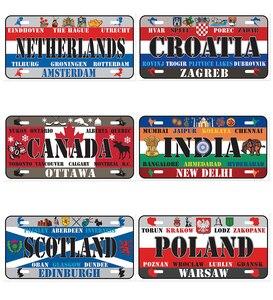 Название страны Национальный флаг художественная живопись металлический автомобильный номерной знак олова винтажная вывеска Бар Кафе гар...