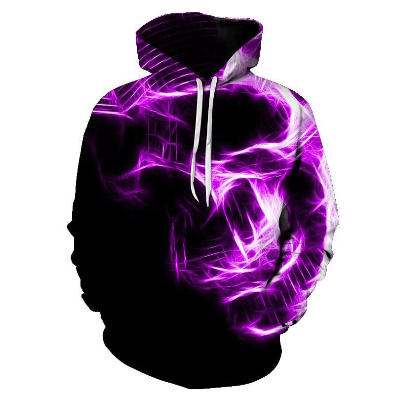 Men's Hoodies 3D Purple Flame Skull Women Hoodies Sweatshirt Young Loose Casual Sportswear Spring Autumn Coat Street Clothing
