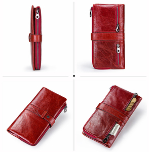 Image 2 - Contacts Red Fashion Wallet Clutch Women 100% Genuine Leather Purse Ladies Wallets HasP Card Hold Cartera Mujer Portfel Damski