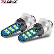 P15D motosiklet kafa lambası ampulleri Led ışık ampul 2 taraf 3030 LED çip yüksek düşük ışın 6000K beyaz ışık DC12 36V ATV UTV için