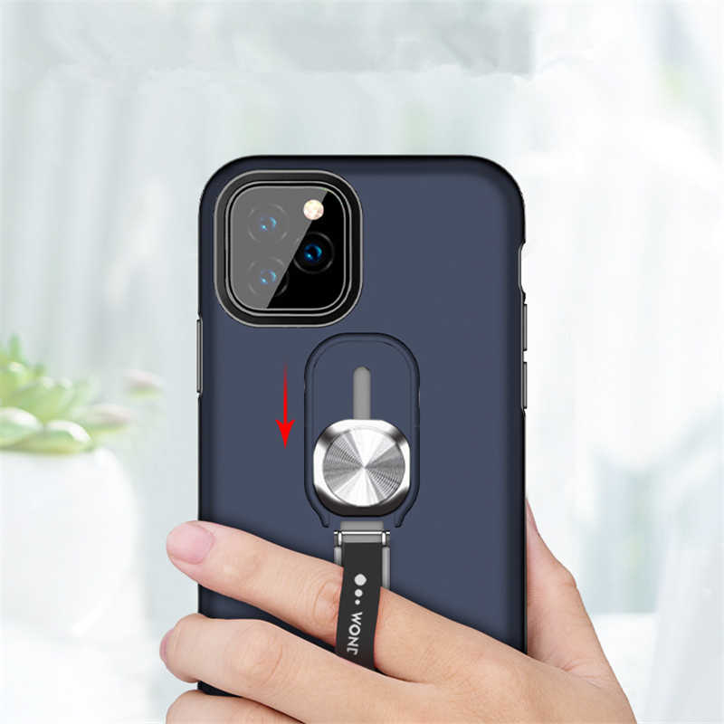 Cincin Magnetik Kickstand Case untuk iPhone 11 Pro Max 7 8 6 6S Plus X XS Max XR Anti -Fall Protection Mobile Phone Cover Fundas