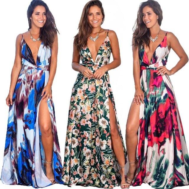 9 الألوان المرأة ماكسي اللباس عالية الشق أكمام V الرقبة فستان صيفي هوليداي بيتش عارضة فستان طويل eDressU LQ 2301