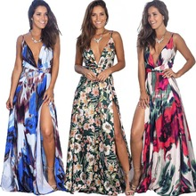 9 colores mujeres Maxi vestido sin mangas de corte alto cuello en V vestido de verano playa vacaciones Casual vestido largo eDressU LQ 2301