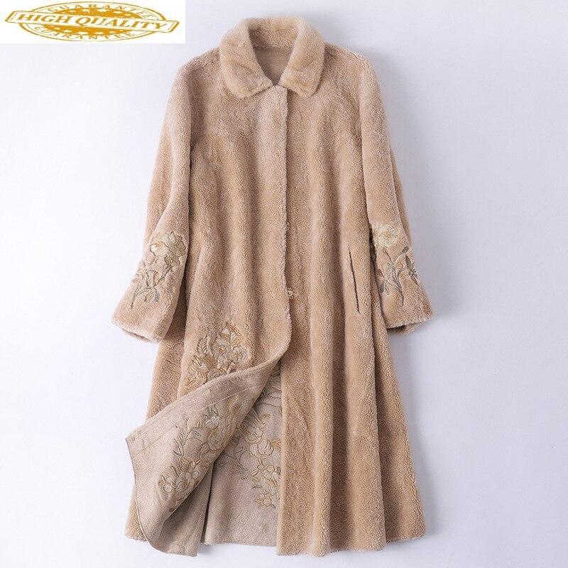 Sheep Shearling Real Fur Coat Winter Jacket Women Mink Fur Collar Wool Coat Female Jacket Long Coats Manteau Femme MY