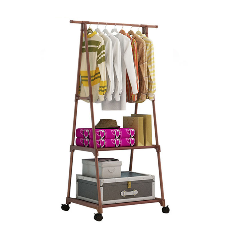 Multifunction Triangle Simple Coat Rack Stainless Steel Removable Clothes Hanging Hanger Floor Stand Coat Rack Wheels