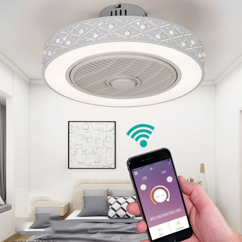 50cm LED télécommande intelligente ventilateur de plafond avec support de lumière téléphone mobile app ventilateurs invisibles home decora éclairage circulaire rond